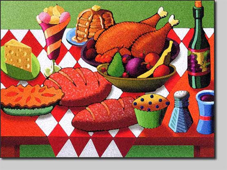 david l. nelson, giclee, feast, table setting, lunch