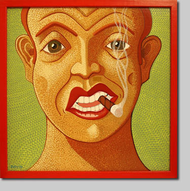 david l. nelson, giclee, acrylic painting, palooka, boxer, tough guy, cigar